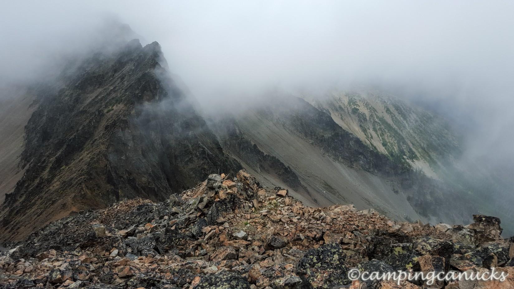 A cloudy peak