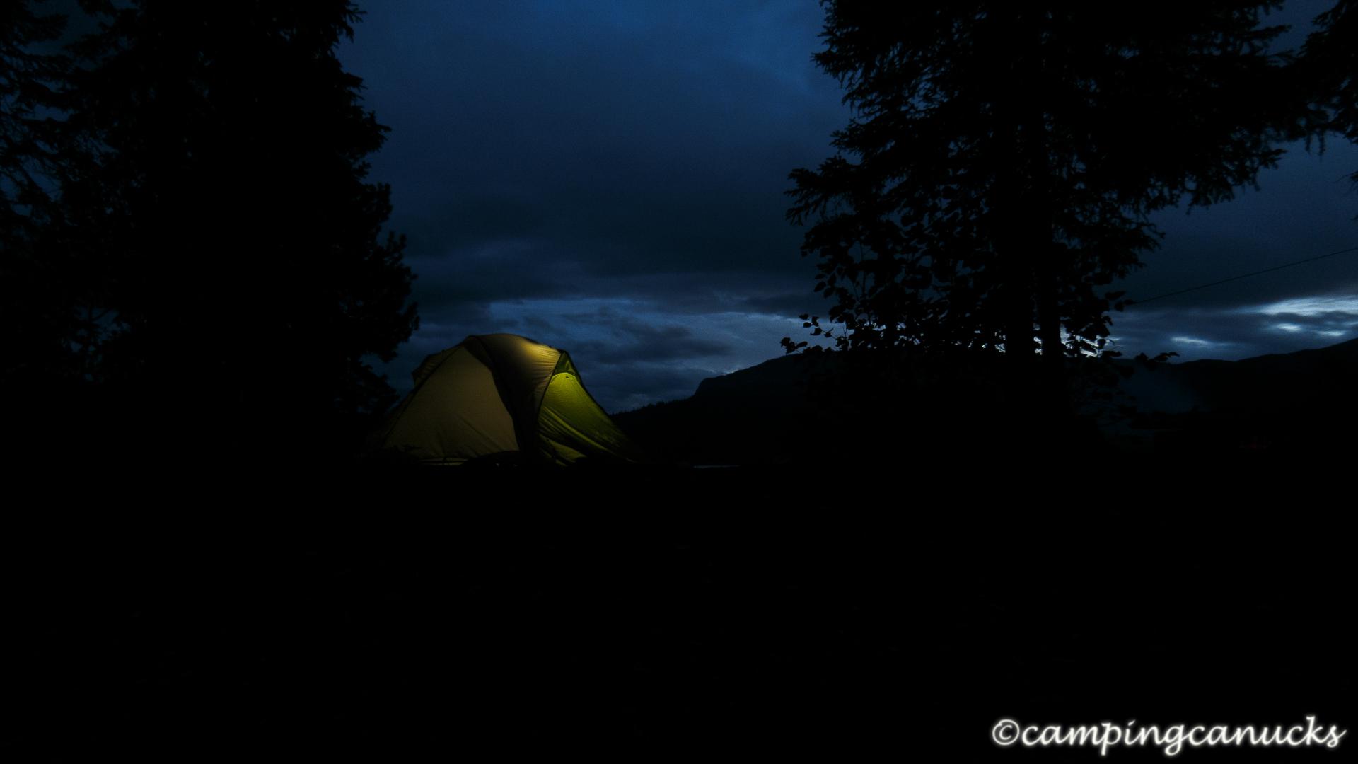 Night falls on Sandy Lake