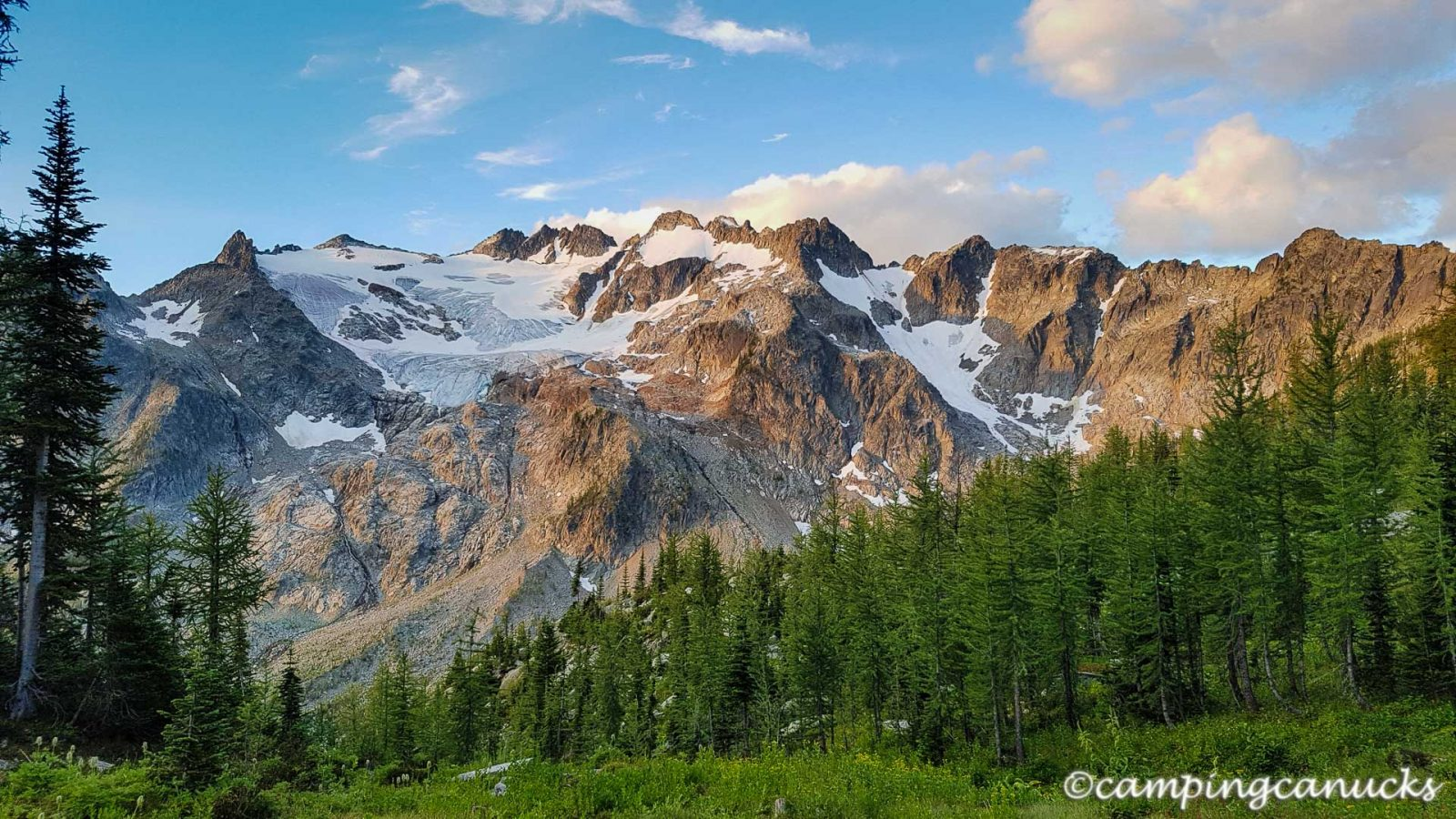 The morning sun lights up the Woodbury Glacier and surrounding peaks
